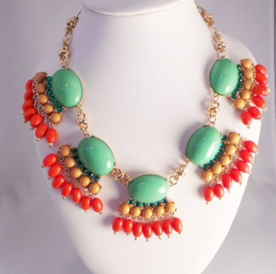 Mint Stones with Orange Dangling Beads