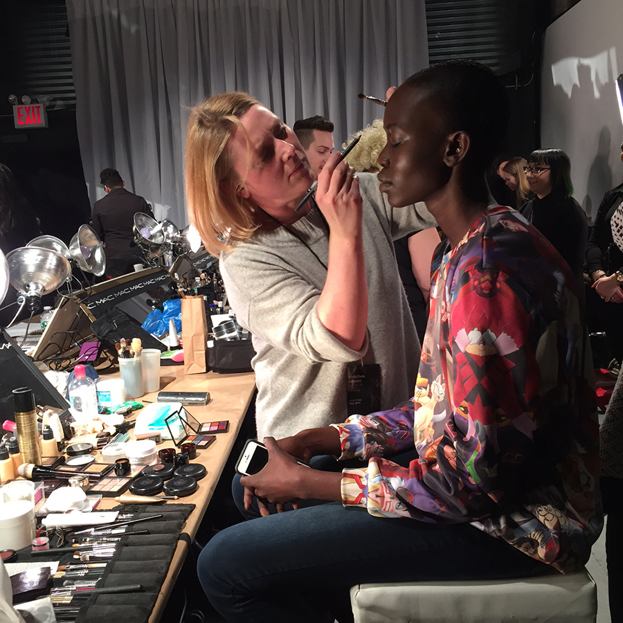 Backstage at the Christian Siriano show